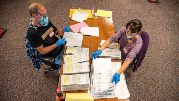 PHOTO: In this photo provided by Wisconsin Watch, election workers Jeff and Lori Lutzka, right, process absentee ballots at Milwaukee's central count facility on Aug. 11, 2020. (Will Cioci/Wisconsin Watch via AP, FILE)