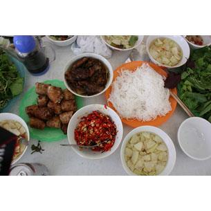 Vietnamese platter at Hanoi - Head to Pho 112 for a bowl of Pho – Vietnam's famous rice noodle soup that is a local breakfast favourite – or visit Bun Bo Nam Bo for your fill of Bun Bo (rice noodles with crisp fried garlic, bean sprouts, peanuts, basil, and beef). If you don't have the stomach for street food but still want to explore Vietnam's culinary traditions, Quan An Ngon is a great option. It's styled like the old Hanoi quarter and with a bustling atmosphere full of food stalls