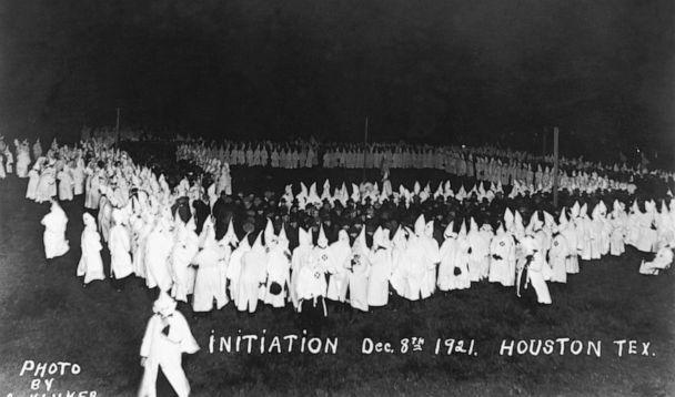 PHOTO: People gather for a Ku Klux Klan initiation in Houston, Dec. 8, 1921. (Hulton Archive/Getty Images)
