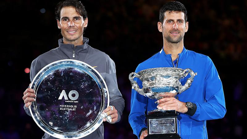 Rafael Nadal and Novak Djokovic, pictured here after the 2019 Australian Open final.