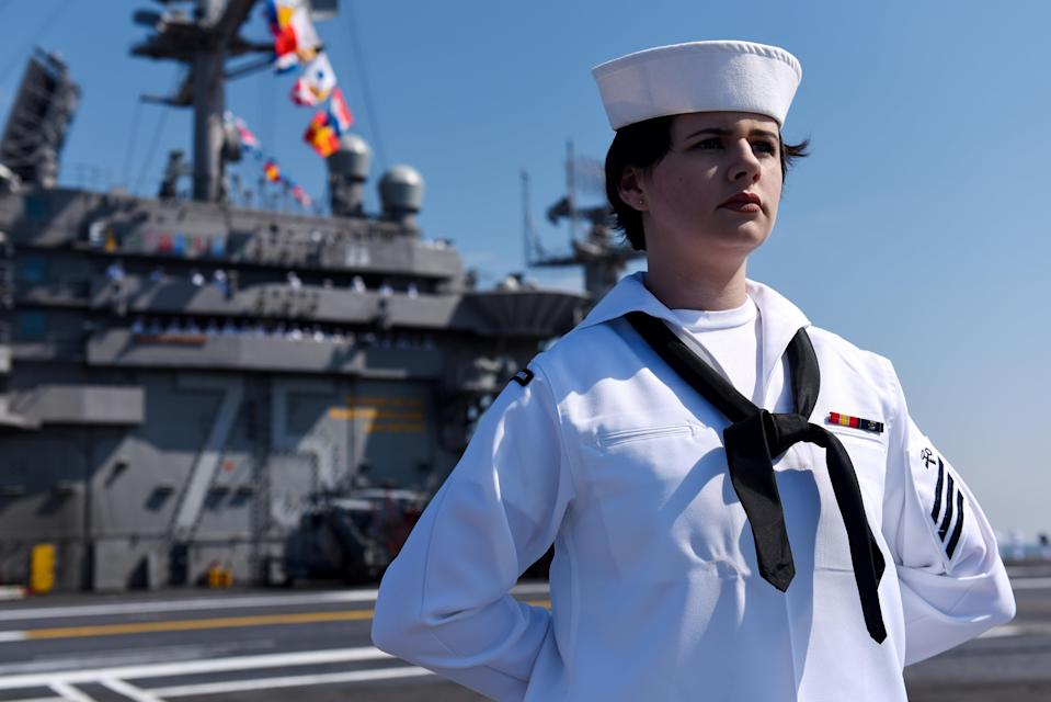 <p>Logistics Specialist Seaman Alison Wise mans the rails aboard the U.S. Navy aircraft carrier USS Harry S. Truman during the ship's departure with its strike group towards the Middle East from homeport of Naval Station Norfolk, Virginia, U.S. April 11, 2018. U.S. Navy/Mass Communication Specialist 3rd Class Kaysee Lohmann/Handout via REUTERS. ATTENTION EDITORS - THIS IMAGE WAS PROVIDED BY A THIRD PARTY?</p>