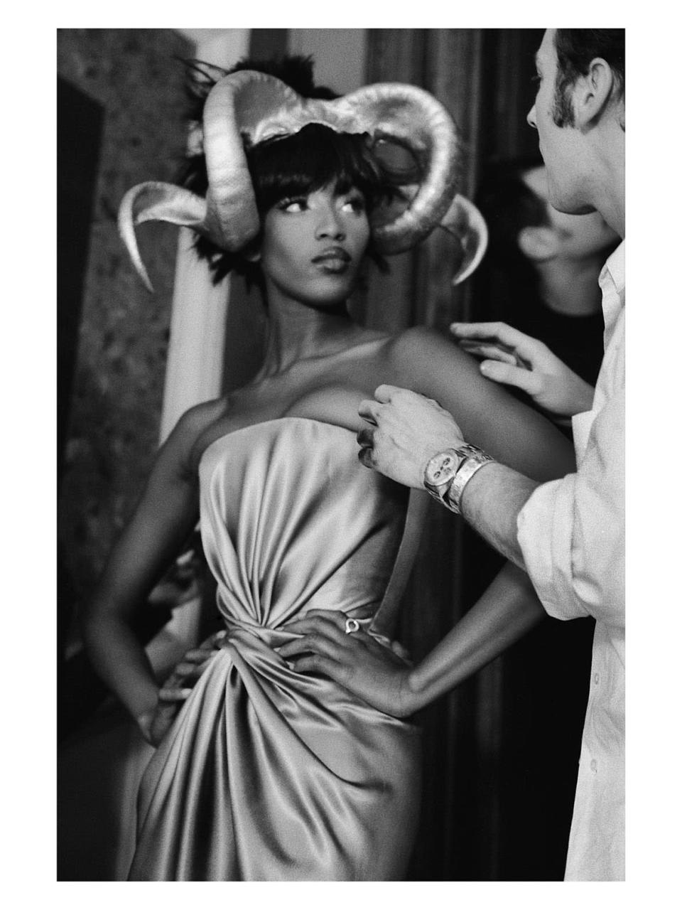 """A look from the spring 1997 Givenchy Couture collection, """"The Search for the Golden Fleece,"""" on Naomi Campbell. - Credit: Anna Ray/Courtesy of Barrett Barrera Projects & RKL Consulting"""