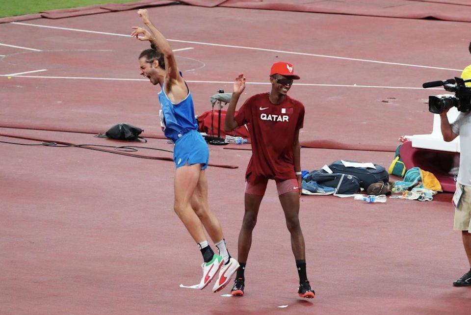 <p>For the first time since 1912, Italy and Qatar walked away with a shared gold medal after competing against each other in the men's high jump heats. Both Qatar's Mutaz Essa Barshim and Italy's Gianmarco Tamberi ended up with jumps of 2.37m, and had no failed attempts until 2.39m. After three failures at this height each, Barshim asked an Olympic official if they could share the award, and he willingly obliged. That's the spirit. </p>