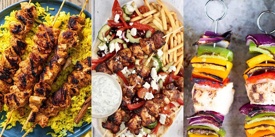 """<p>Craving a <a href=""""https://www.delish.com/uk/cooking/recipes/g36091853/kebab-recipe/"""" rel=""""nofollow noopener"""" target=""""_blank"""" data-ylk=""""slk:kebab"""" class=""""link rapid-noclick-resp"""">kebab</a> but without all the grease? We've got you! Make your own chicken kebabs and be blown away by the delicious-tasting <a href=""""https://www.delish.com/uk/easy-dinner-ideas/"""" rel=""""nofollow noopener"""" target=""""_blank"""" data-ylk=""""slk:dinner"""" class=""""link rapid-noclick-resp"""">dinner</a> you're about to create. We're talking <a href=""""https://www.delish.com/uk/cooking/recipes/a35901474/chicken-souvlaki/"""" rel=""""nofollow noopener"""" target=""""_blank"""" data-ylk=""""slk:Chicken Souvlaki"""" class=""""link rapid-noclick-resp"""">Chicken Souvlaki</a>, <a href=""""https://www.delish.com/uk/cooking/recipes/a36446241/chicken-teriyaki-skewers/"""" rel=""""nofollow noopener"""" target=""""_blank"""" data-ylk=""""slk:Chicken Teriyaki"""" class=""""link rapid-noclick-resp"""">Chicken Teriyaki</a> and even <a href=""""https://theviewfromgreatisland.com/rainbow-chicken-skewers-with-spicy-pesto-sauce-recipe/"""" rel=""""nofollow noopener"""" target=""""_blank"""" data-ylk=""""slk:Rainbow Chicken"""" class=""""link rapid-noclick-resp"""">Rainbow Chicken</a>. All perfectly skewered and waiting for you to lap up this weekend... Pair with a bowl of <a href=""""https://www.delish.com/uk/cooking/recipes/a36738187/air-fryer-chips/"""" rel=""""nofollow noopener"""" target=""""_blank"""" data-ylk=""""slk:chips"""" class=""""link rapid-noclick-resp"""">chips</a>, some <a href=""""https://www.delish.com/uk/cooking/recipes/a37338832/nandos-spicy-rice/"""" rel=""""nofollow noopener"""" target=""""_blank"""" data-ylk=""""slk:spicy rice"""" class=""""link rapid-noclick-resp"""">spicy rice</a> or a couple slices of <a href=""""https://www.delish.com/uk/cooking/recipes/a30253821/homemade-pita-bread/"""" rel=""""nofollow noopener"""" target=""""_blank"""" data-ylk=""""slk:pitta"""" class=""""link rapid-noclick-resp"""">pitta</a>, and you're pretty much good to go. Check out our top 10 chicken kebab recipes now. </p>"""