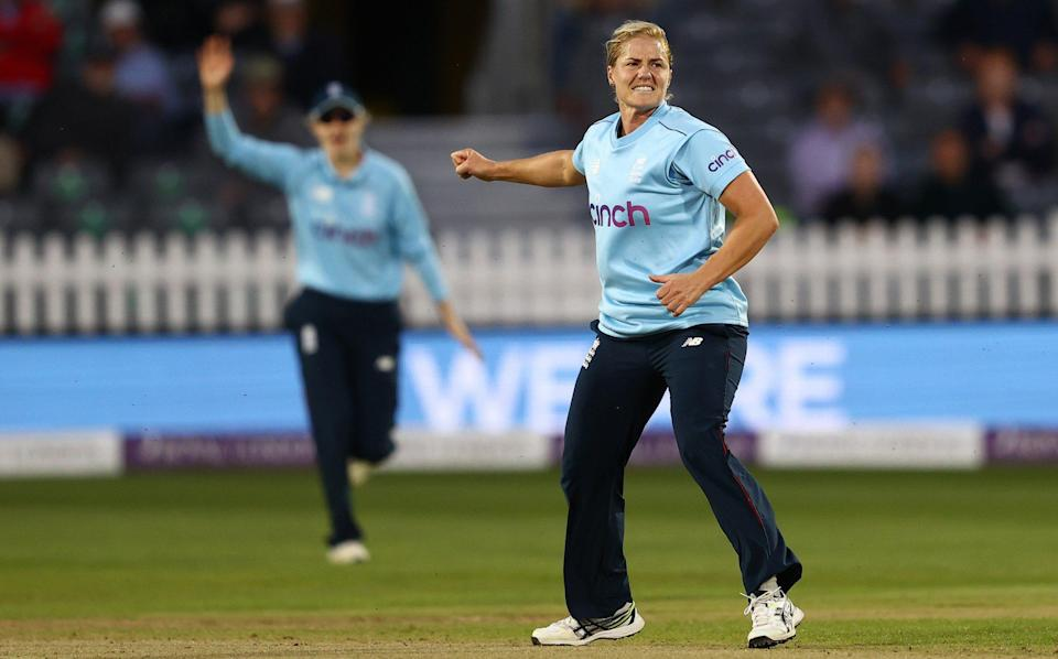 Katherine Brunt of England celebrates taking the wicket of Hannah Rowe of New Zealand during the first One Day International match between England Women and New Zealand Women at the County Ground during the 1st One Day International match between England and New Zealand at Bristol County Ground on September 16, 2021 in Bristol, England - GETTY IMAGES