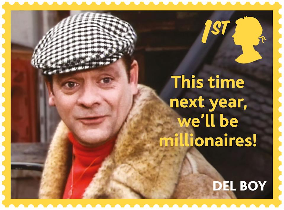 Wheeler dealer Del Boy is pictured alongside one of his famous quotes. (Royal Mail)
