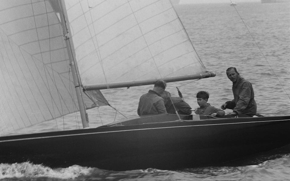 Prince Philip, sailing at Cowes in 1958 - Getty