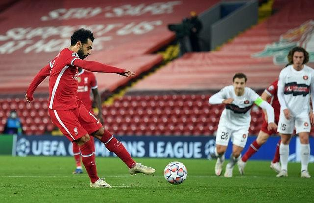 Mohamed Salah scored a stoppage-time penalty on Tuesday after coming off the bench (Michael Regan/PA).