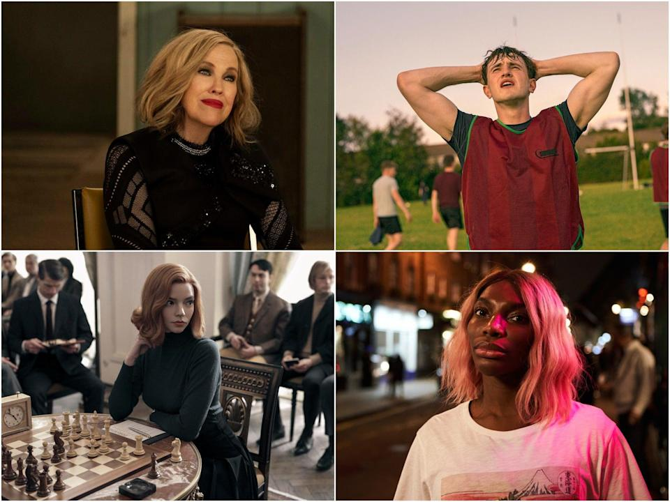 Clockwise from top left: Catherine O' Hara in Schitt's Creek, Paul Mescal in Normal People, Michaela Coel in I May Destroy You and Anya Taylor Joy in The Queen's Gambit (BBC, Netflix)