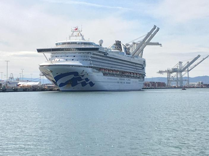 The Grand Princess docked at the Port of Oakland on March 9. A total of 131 people on the ship tested positive for the coronavirus, and five died.