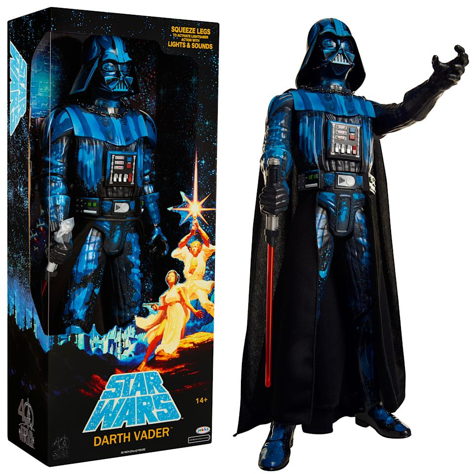"<p>Inspired by the original <a rel=""nofollow"" href=""https://www.yahoo.com/movies/tagged/star-wars/""><em>Star Wars</em></a> poster, this Sith lord has sound and light FX. (Photo: Jakks Pacific) </p>"