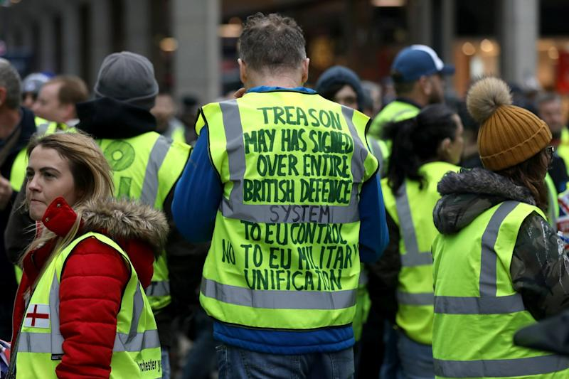 Protesters wearing yellow vests also participated in a pro-Brexit demonstration (REUTERS)