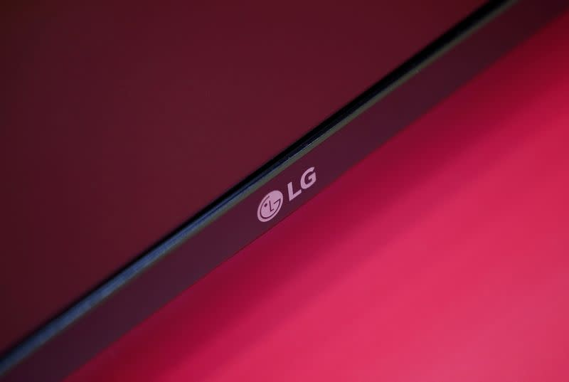 An LG Electronics' logo is pictured on a TV displayed at a shop in Seoul