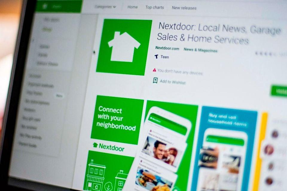 Nextdoor, the hyper local social network allows neighbours to offer to pick up groceries or medicine, to share supplies, walk people's dogs or do some spying. (AFP via Getty Images)