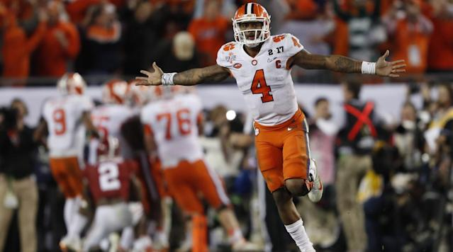 "<p>Clemson quarterback Deshaun Watson was asked to leave a Tuscaloosa bar on Friday, <a href=""http://www.al.com/sports/index.ssf/2017/03/watch_alabama_fans_tell_deshau.html"" rel=""nofollow noopener"" target=""_blank"" data-ylk=""slk:according"" class=""link rapid-noclick-resp"">according</a> to AL.com.</p><p>Watson was seen at the Innisfree Irish Pub and filmed when former Alabama linebacker Ryan Anderson approached Watson and told him to leave the bar.</p><p>Watson led Clemson to a national championship title over Alabama in January.</p><p>""Unfortunately a customer attempted to invoke the right to refuse service on our behalf and after being identified, was immediately asked to leave the premises following the incident,"" the bar said in a <a href=""https://www.facebook.com/permalink.php?story_fbid=10155291520259309&id=14990734308"" rel=""nofollow noopener"" target=""_blank"" data-ylk=""slk:Facebook statement"" class=""link rapid-noclick-resp"">Facebook statement</a>. ""We apologize for any inconvenience this incident caused to our customers. We appreciate anyone that chooses to visit our establishment and hope to continue welcoming sports fans for years to come.""</p>"