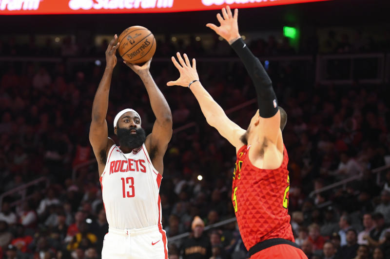 Harden, Young get 40-point triple-doubles; Rockets top Hawks