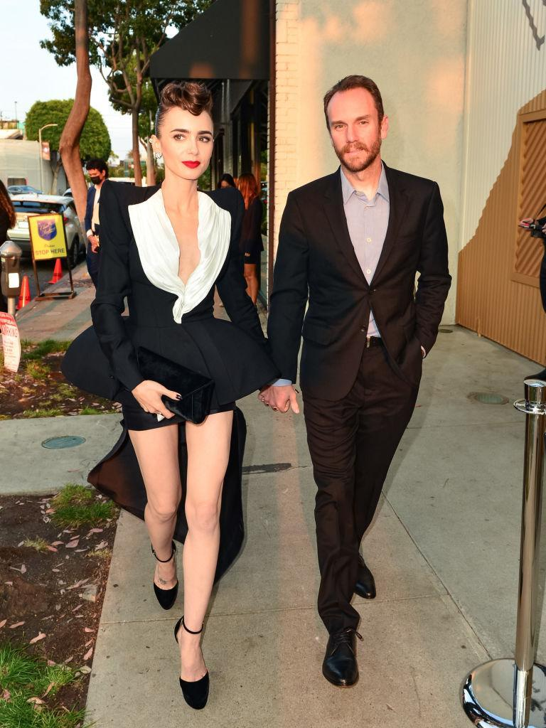 LOS ANGELES, CA - AUGUST 24: Lily Collins and Charlie McDowell are seen on August 24, 2021 in Los Angeles, California. (Photo by JOCE/Bauer-Griffin/GC Images)