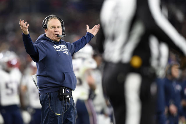 FILE - In this Nov. 3, 2019, file photo, New England Patriots head coach Bill Belichick gestures toward an official during the second half of an NFL football game against the Baltimore Ravens, in Baltimore. Several teams are tanking, penalties are wrecking the flow of games, some of the biggest stars have been sidelined, the new pass interference rule appears to have been adapted only to quiet the uproar that started after last season's NFC Championship game, and even though ratings are up, it all looks like one big mess on TV. (AP Photo/Gail Burton, File)