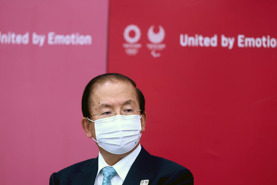 Tokyo 2020 CEO Toshiro Muto attends a press conference, in Tokyo, Thursday, July 8, 2021. (Behrouz Mehri/Pool Photo via AP)