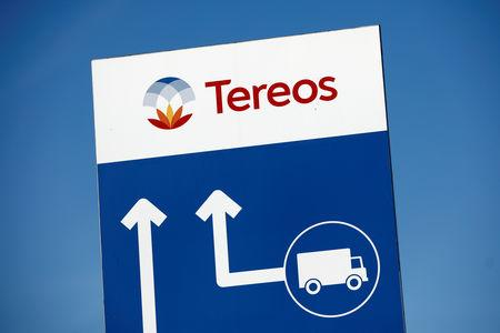 FILE PHOTO: The Tereos logo is displayed at a sugar beet processing plant in Origny-Sainte-Benoite, France, March 20, 2019. REUTERS/Benoit Tessier/File Photo