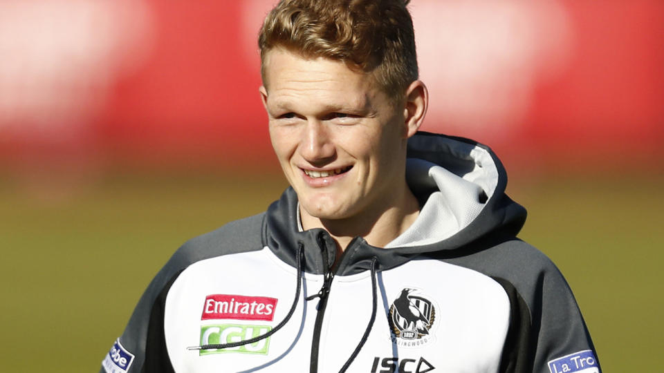 Adam Treloar, pictured here at a Collingwood training session.