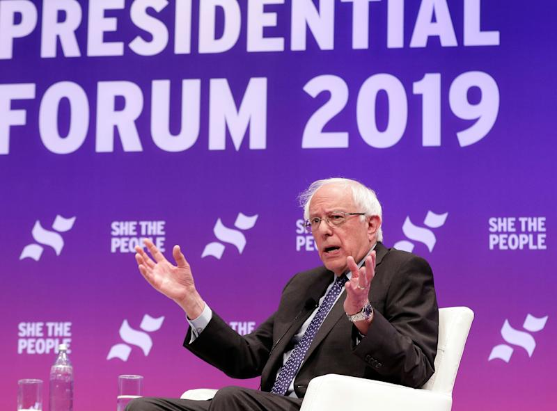 Democratic presidential candidate Sen. Bernie Sanders, independent-Vt., answers questions during a presidential forum held by She the People on the Texas State University campus Wednesday, April 24, 2019, in Houston. (Photo: Michael Wyke/AP)