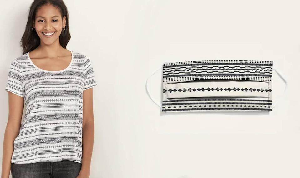 Old Navy ikat tee and mask (Photo: Old Navy)