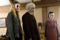 """<p>The psychological horror film <strong>The Strangers</strong> will make you question every twist and turn. When Kristen (<a class=""""link rapid-noclick-resp"""" href=""""https://www.popsugar.com/Liv-Tyler"""" rel=""""nofollow noopener"""" target=""""_blank"""" data-ylk=""""slk:Liv Tyler"""">Liv Tyler</a>) and James (<a class=""""link rapid-noclick-resp"""" href=""""https://www.popsugar.com/Scott-Speedman"""" rel=""""nofollow noopener"""" target=""""_blank"""" data-ylk=""""slk:Scott Speedman"""">Scott Speedman</a>) decide to spend the weekend at a family home, three unknown, masked strangers mysteriously appear inside the home. </p><p><a href=""""https://www.netflix.com/title/70060008"""" class=""""link rapid-noclick-resp"""" rel=""""nofollow noopener"""" target=""""_blank"""" data-ylk=""""slk:Watch The Strangers on Netflix now."""">Watch <strong>The Strangers</strong> on Netflix now.</a></p>"""