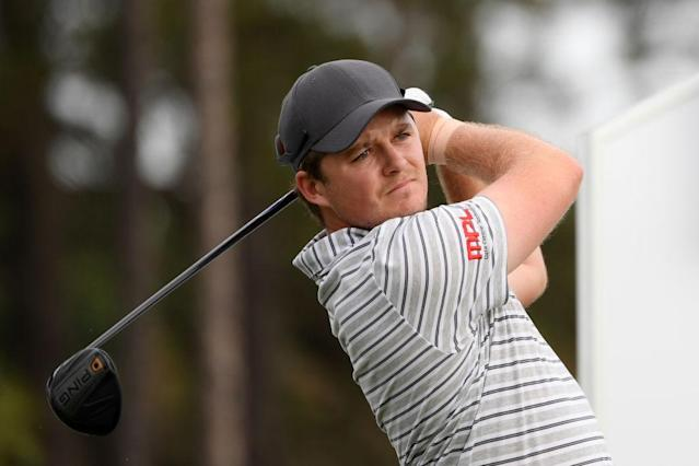 "<a class=""link rapid-noclick-resp"" href=""/pga/players/12796/"" data-ylk=""slk:Eddie Pepperell"">Eddie Pepperell</a> finished a round with one less club. (Getty)"