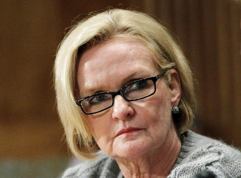 FILE - In this Sept. 21, 2011 file photo, Sen. Claire McCaskill, D-Mo. listens on Capitol Hill in Washington. Claire McCaskill, one of the most vulnerable Democrats up for re-election in 2012, plans to skip the Democratic National Convention in Charlotte, N.C. McCaskill's campaign said Tuesday she will spend the week campaigning in her home state instead.   (AP Photo Manuel Balce Ceneta, File)