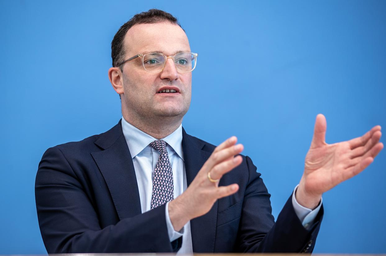 BERLIN, GERMANY - JULY 21: Jens Spahn, Federal Minister of Health, at the presentation of the National Reserve Health Protection in the federal press conference on July 21, 2021 in Berlin, Germany. (Photo by Andreas Gora - Pool/Getty Images)