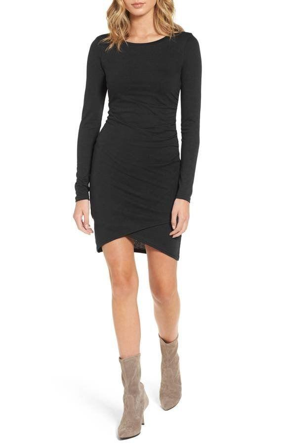 "It's a flattering design that <a href=""https://shop.nordstrom.com/s/leith-ruched-long-sleeve-dress-nordstrom-online-exclusive/3738991?origin=PredictiveSearchProducts"" target=""_blank"">looks good on everyone</a>. Plus, you don't want to miss Nordstrom's fall sale, going on now until Nov. 12."