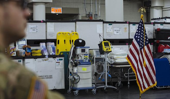 Medical equipment is stocked at the Jacob Javits Convention Centre in New York. Construction began this week to turn the facility into a 1,000-bed hospital. Photo: Bloomberg