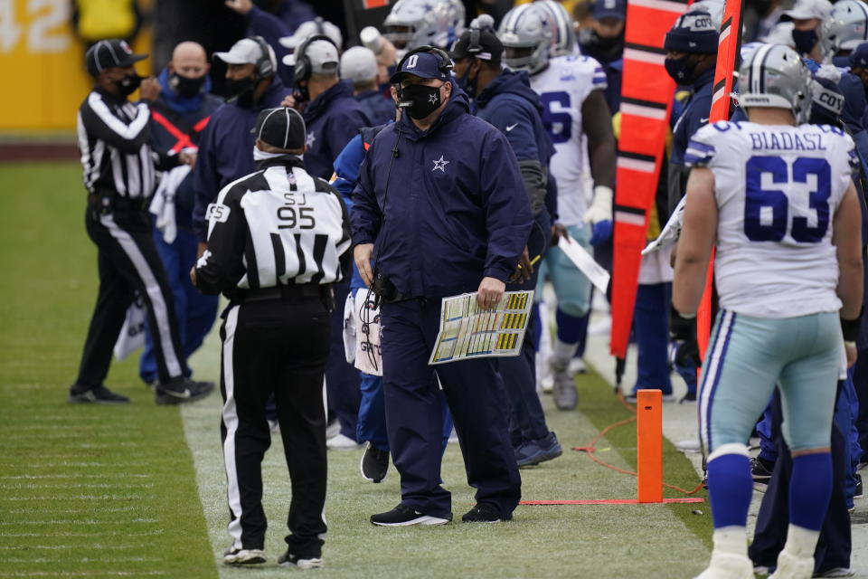 Dallas Cowboys head coach Mike McCarthy on the sidelines in the first half of an NFL football game against Washington Football Team, Sunday, Oct. 25, 2020, in Landover, Md. (AP Photo/Patrick Semansky)