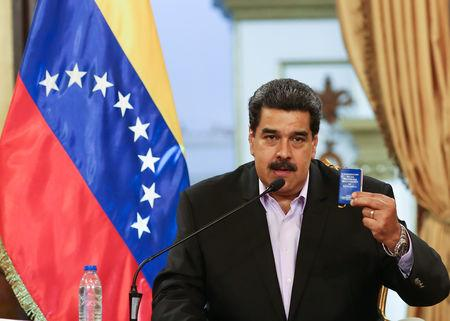 Venezuela's President Nicolas Maduro speaks during a meeting with members of the Venezuelan diplomatic corp after their arrival from the United States, at the Miraflores Palace in Caracas