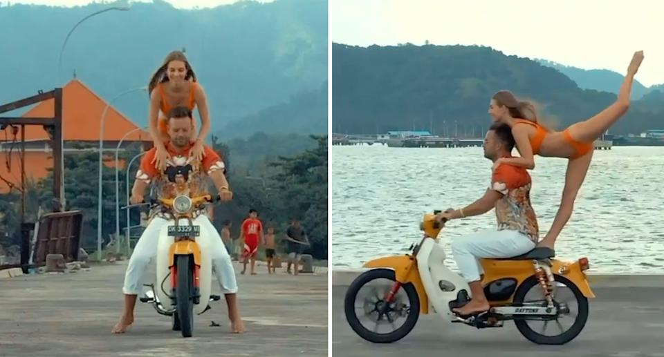 Influencer driving himself and bikini clad woman off a jetty in Bali.