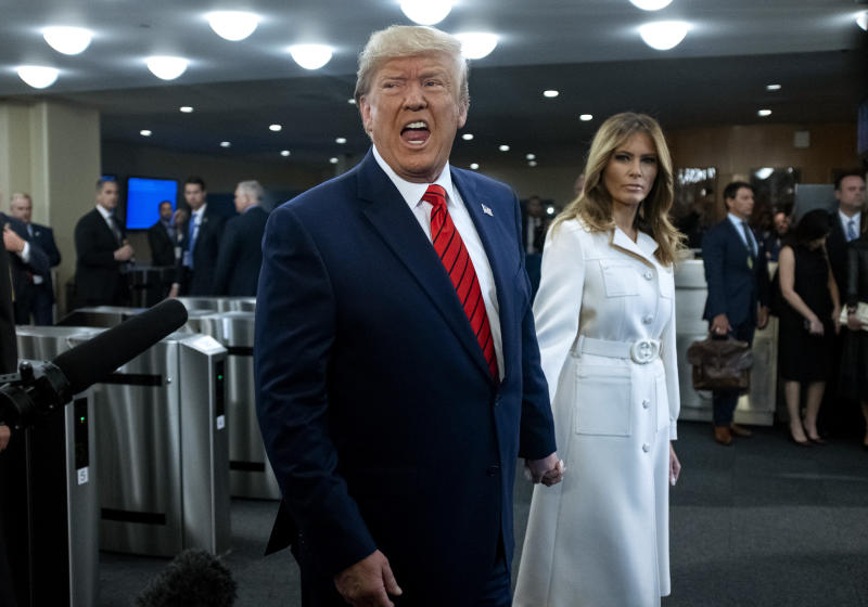 President Donald Trump addresses reporters as he arrives with first lady Melania Trump for the 74th session of the United Nations General Assembly, at U.N. headquarters, Tuesday, Sept. 24, 2019. (Photo: Craig Ruttle/AP)