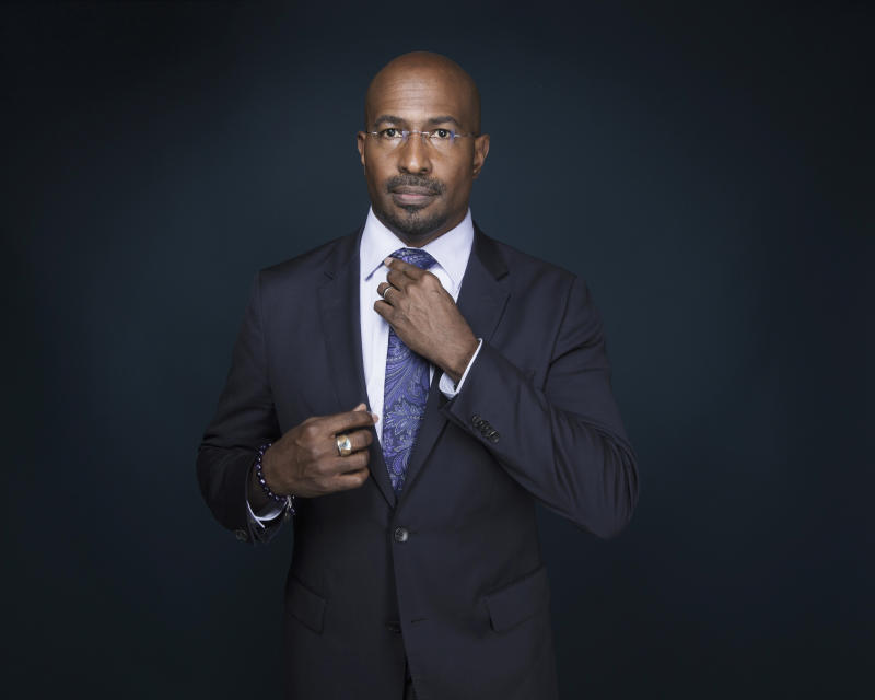 """In this April 28, 2017 file photo, Van Jones, host of """"The Messy Truth with Van Jones"""" appears after an interview in New York. Jones is hoping to bolster his activist work by pairing with Jay Z's management firm Roc Nation. The pundit announced the affiliation Thursday, May 4. He hopes the company's expertise in cultural influence helps his work in green initiatives,  getting poor youngsters involved in the tech sector and training prison inmates in media skills. (Photo by Taylor Jewell/Invision/AP)"""