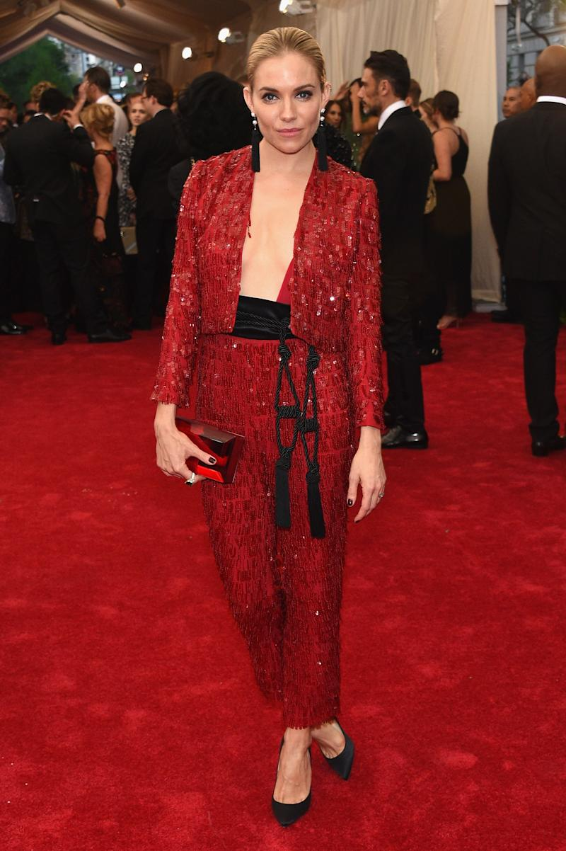"""Sienna Miller in Thakoon at the 2015 Met Gala """"China: Through The Looking Glass."""" Photo by Getty Images."""