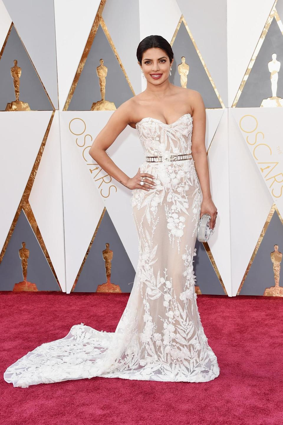 <p>Priyanka Chopra, the star of ABC's <i>Quantico, </i>went for a princess look in Zuhair Murad for her first time at the Oscars. <i>(Photo: Getty Images)</i></p>