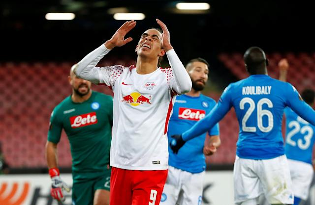 Soccer Football - Europa League Round of 32 First Leg - Napoli vs RB Leipzig - Stadio San Paolo, Naples, Italy - February 15, 2018 RB Leipzig's Yussuf Poulsen reacts REUTERS/Tony Gentile