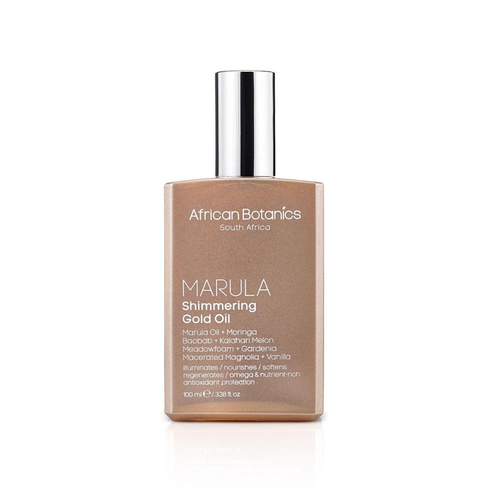 """<p>African marula, moringa, baobab and kalahari melon seed oils add a golden glow to your skin and hair, while gardenia, magnolia, neroli, and vanilla bean envelop you with a warm, happy scent. <a href=""""http://us.spacenk.com/marula-shimmering-gold-oil/MUS300024519.html"""" rel=""""nofollow noopener"""" target=""""_blank"""" data-ylk=""""slk:African Botanics Marula Shimmering Gold Oil"""" class=""""link rapid-noclick-resp"""">African Botanics Marula Shimmering Gold Oil</a> ($85)</p><p>Source: African Botanics</p>"""