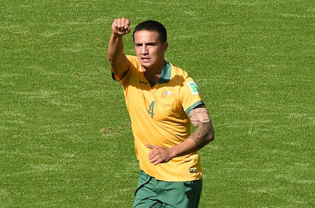 Australia's Tim Cahill celebrates after scoring during a World Cup match in Porto Alegre on June 18, 2014 (AFP Photo/Luis Acosta)