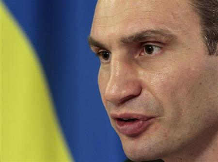 Heavyweight boxing champion and UDAR party leader Klitschko speaks during a news conference in Kiev