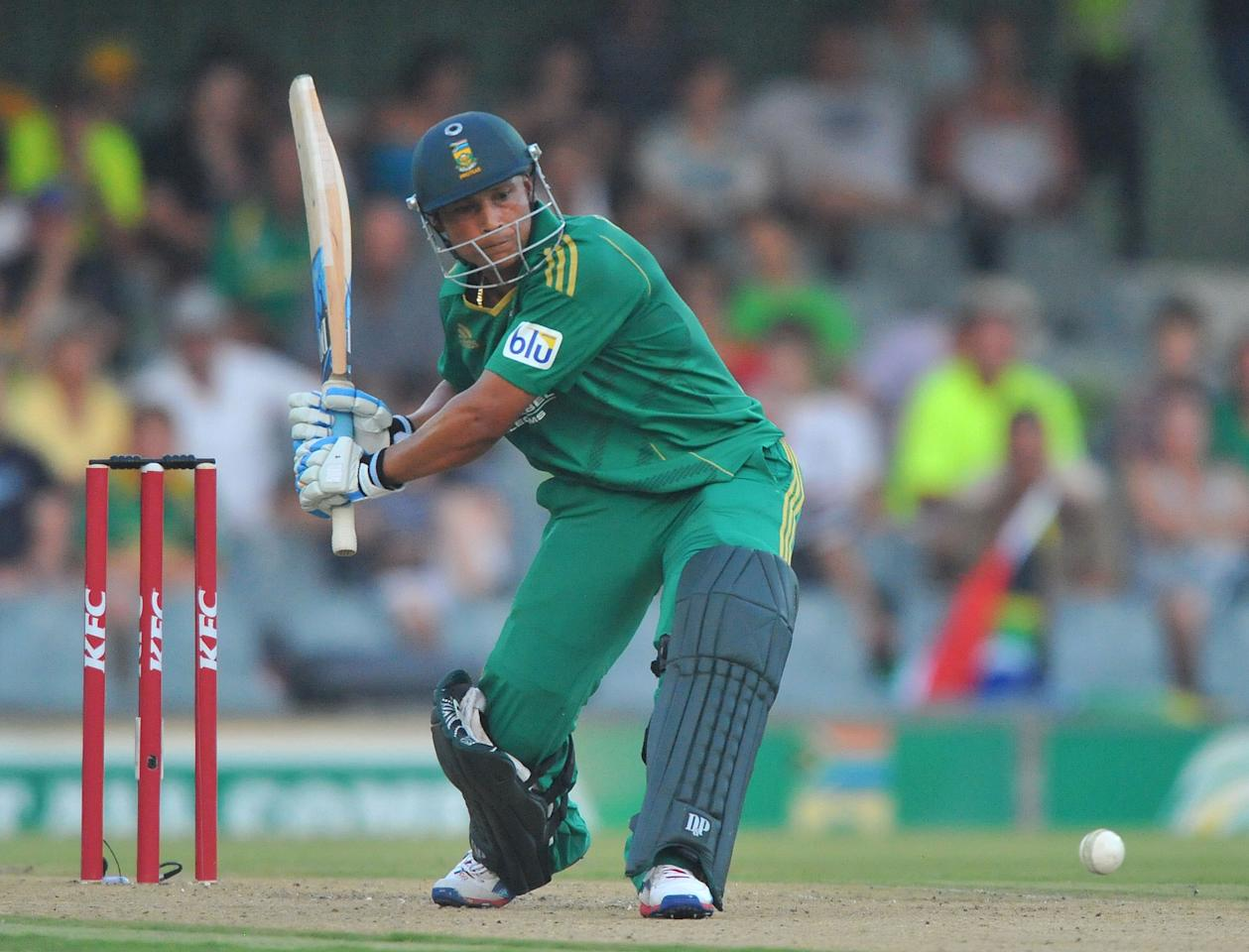 EAST LONDON, SOUTH AFRICA - DECEMBER 23:   Henry Davids of South Africa about to hit the ball for a six during the 2nd T20 match between South Africa and New Zealand at Buffalo Park on December 23, 2012 in East London, South Africa.  (Photo by Duif du Toit/Gallo Images/Getty Images)