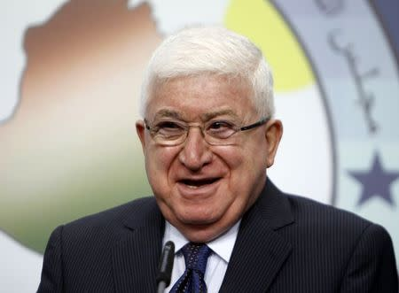 Fouad Masoum, Iraq's newly elected president, smiles during a news conference in Baghdad, July 24, 2014. REUTERS/Ahmed Saad