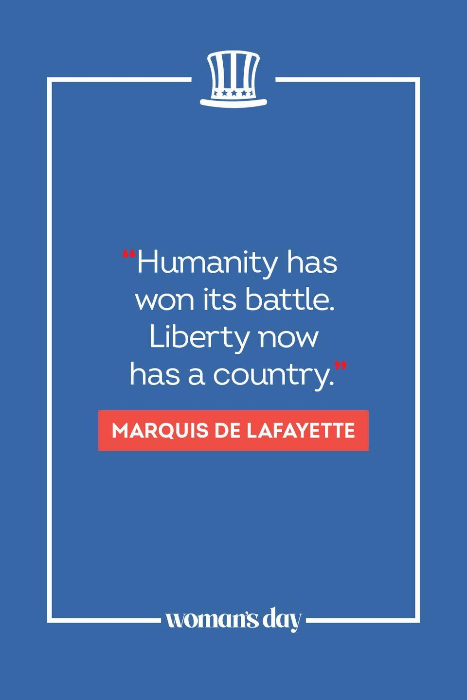 """<p>""""Humanity has won its battle. Liberty now has a country."""" </p>"""