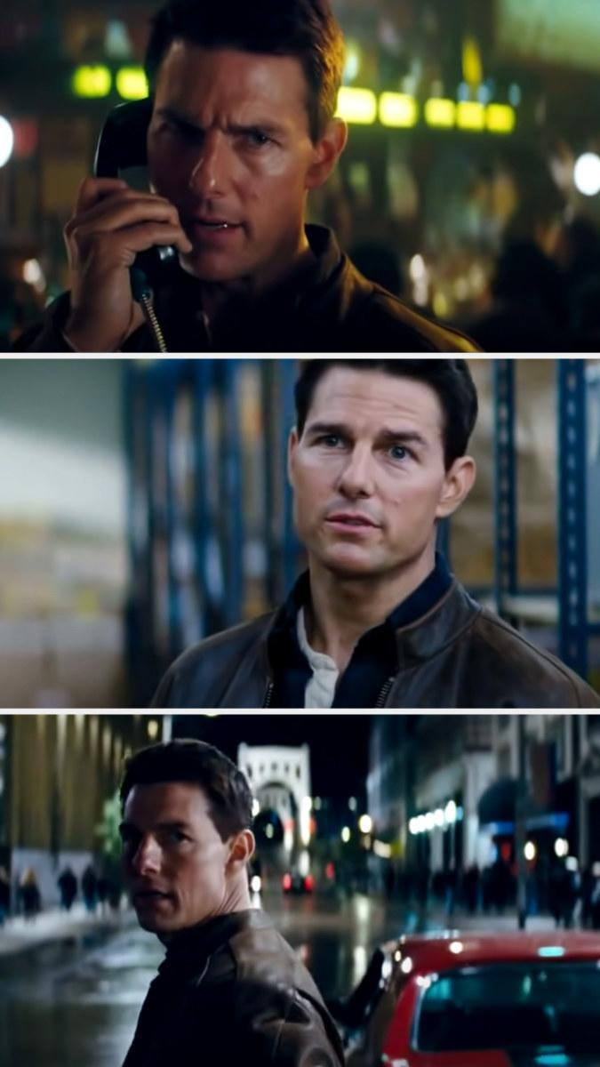 """Cruise in three separate stills from """"Jack Reacher,"""" with tough expressions on his face while wearing a leather jacket"""