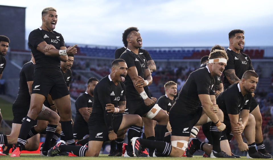 The New Zealand All Blacks perform the haka prior to the 2020 Tri-Nations match between Argentina and the All Blacks in Newcastle, Australia, Saturday, Nov. 28, 2020. (Mark Kolbe/Pool via AP)