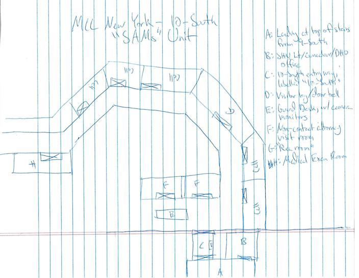 """A sketch of the MCC 10-South """"SAMs"""" Unit made by Marty Gottesfeld during his time at the MCC. (Photo: courtesy of Dana Gottesfeld)"""